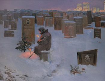 старушка у могилы в новогоднюю ночь