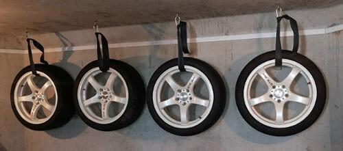 Подвешивание колес в сборе на длительное хранение